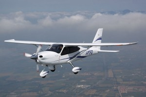 The Tecnam P2010 looks an awful lot like a mix between a Cessna 172 and a Cirrus.