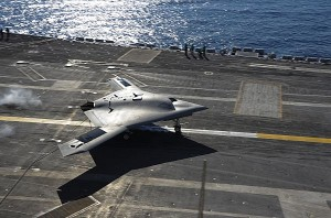 X-47B performs flight tests aboard the USS Theodore Roosevelt.