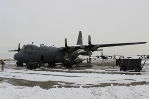 The C-130H generally flies with a crew of two pilots, a navigator, engineer, and two loadmasters.