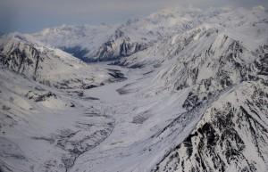 The rugged terrain of Alaska's Mystic Pass, looking north. (Nikki Kahn/The Washington Post)