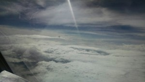 If you look closely you can see our leader on the clouds in front of us.