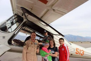 Brylee and her family getting ready to fly.