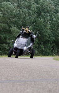 The three wheel design, along with a carbon fiber body, allows you to lean into turns.