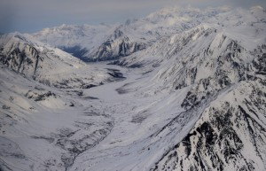The rugged terrain of Alaska's Mystic Pass, looking north. (Nikki Kahn/The Washington Post)