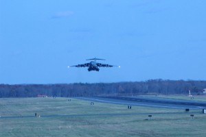 This is a prime example of a crosswind takeoff.